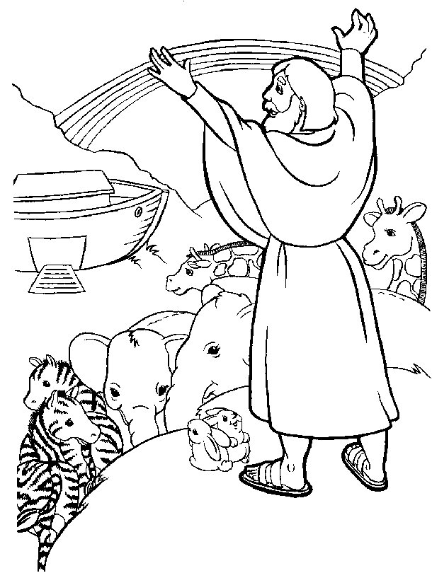 Coloring Pages For The Story Of Noah S Ark With Rainbow
